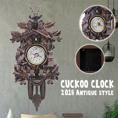 301Deer Black Forest Decoration Home Cafe Art Swing Vintage Cuckoo Wall Clock US