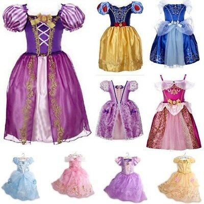 Kids Girls Princess Fairytale Dress Up Belle Cinderella Aurora Rapunzel Costume