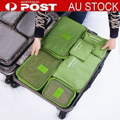 6PCS Waterproof Travel Storage Clothes Packing Cube Luggage Organizer Pouch mj
