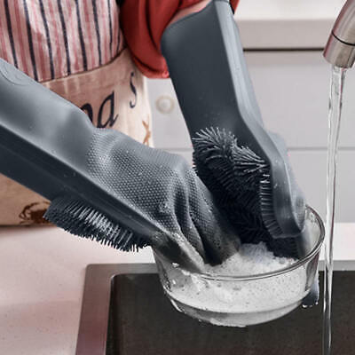 Magic Silicone Dishwashing Gloves with Wash Scrubber, Cleaning Brush Heat. EMD