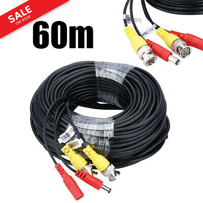 60M PRE-MADE BNC DC Video Power Lead CCTV Security Camera DVR Extension Cable uk