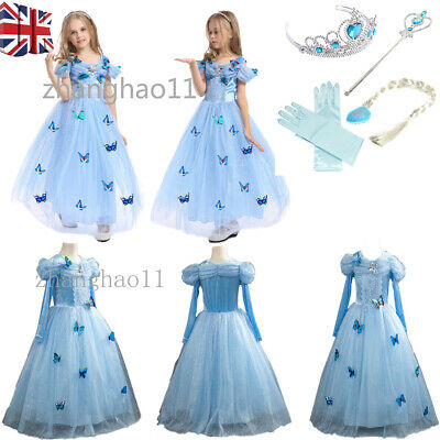 Girls Cinderella Princess Fancy Dress fairy tale Party Outfit Ages 4-12 Costume