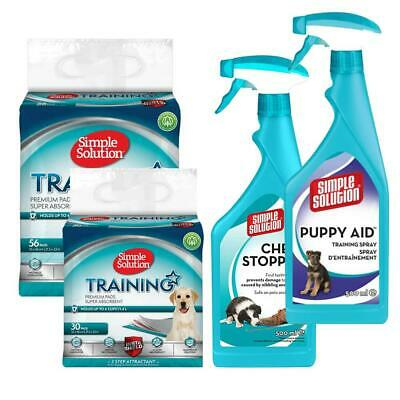Simple Solutions Dog Puppy Toilet / House Training Pads, Aid Spray, Chew Stopper