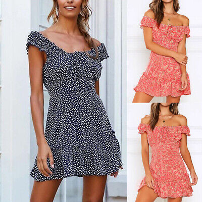 Sexy Off Shoulder Women Lace Up Elastic Mini Dress Summer Chic Spots Sundress