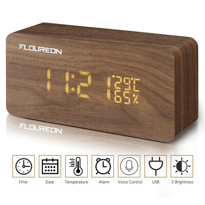 Wooden LED Digital Alarm Clock Voice Control Calendar Date Thermometer USB/AAA