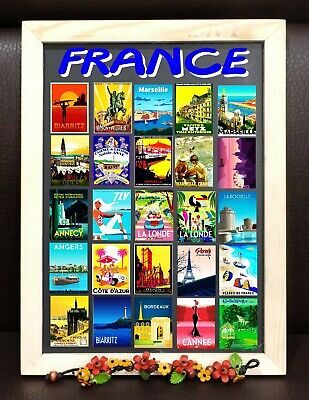 Paris France Monaco Fridge Magnet Poster Vintage Retro Cute Art City SET 2
