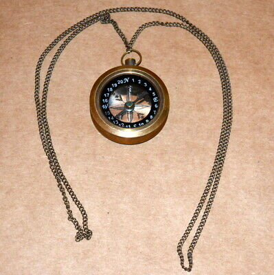 "Antique vintage maritime compass 1"" collectible pocket compass with chain gift"