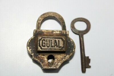 Old antique solid brass padlock or lock with key small miniature GULAL