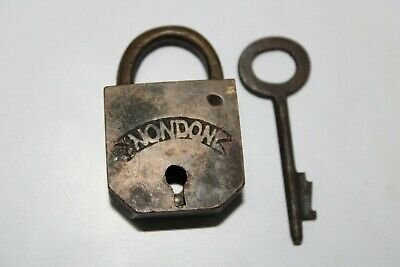 Old antique solid brass padlock or lock with key small miniature NONDON