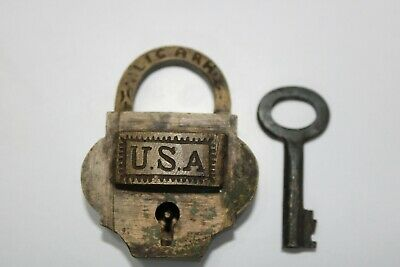 Old antique solid brass padlock or lock with key small miniature USA