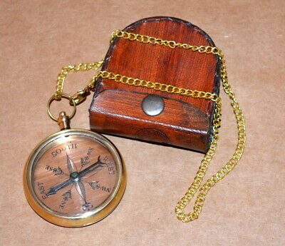 "Antique vintage brass 2"" pocket compass brass collectible with leather cover"
