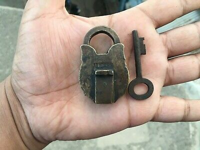 Old antique solid brass padlock or lock with key small miniature MOST RARE SHAPE