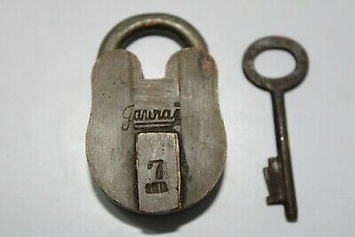Old antique solid brass padlock or lock with key small miniature GOURAJ