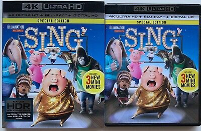 Sing 4K Ultra Hd Blu Ray 2 Disc Set + Rare Slipcover Sleeve Special Edition Buy