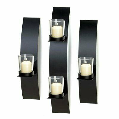 Candle Sconces Wall Decor, Modern Metallic Wall Sconce Candle Holder Black