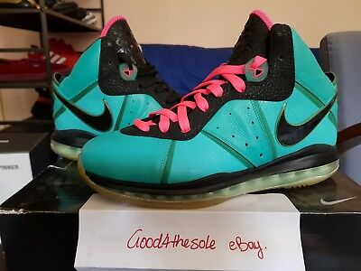 e06ea6f28b1 NIKE LEBRON 8 VIII Sz 11 South Beach Miami Pink Green New Black LBJ ...