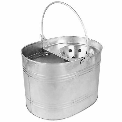 New Galvanised Steel Metal Mop Bucket Strong Handle General Cleaning Home Office