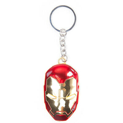 OFFICIAL Marvel Avengers Iron Man Mask Shaped 3D Metal Keychain Keyring (NEW)