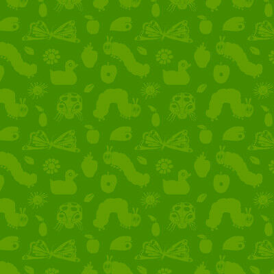 The Very Hungry Caterpillar ABC Fabric Numbers On Green  #3475-R Premium Cotton