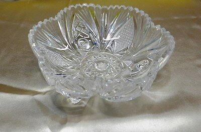 Antique Crystal ABP Footed Candy Dish Sawtooth Scallop Star Cut VT1078