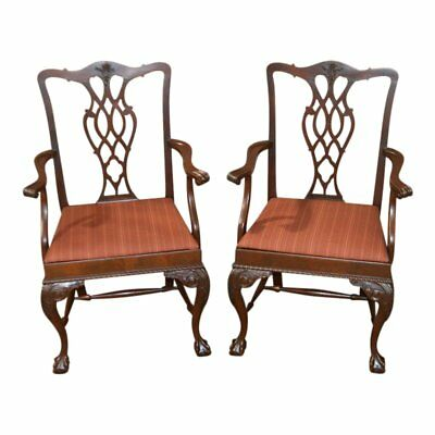 Pair of Vintage Carved Mahogany Chippendale Style Arm Chairs