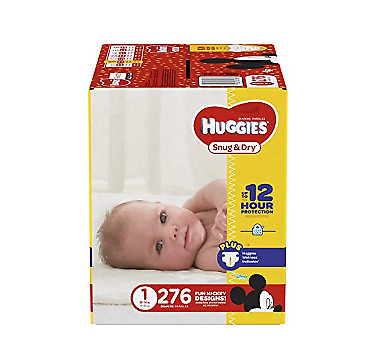 HUGGIES Snug & Dry Diapers, SIZE 1- 6, 140 - 276 COUNT (Packaging May Vary)