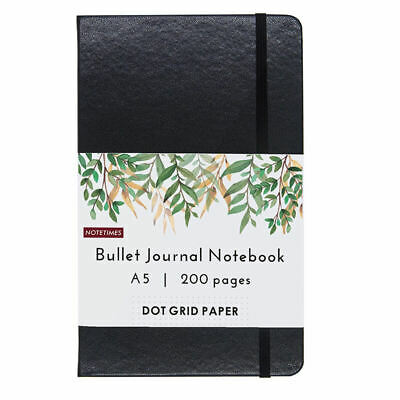 Classic Dot Grid Notebook for Bullet Journal, A5 Dotted Leather Notebook, Black