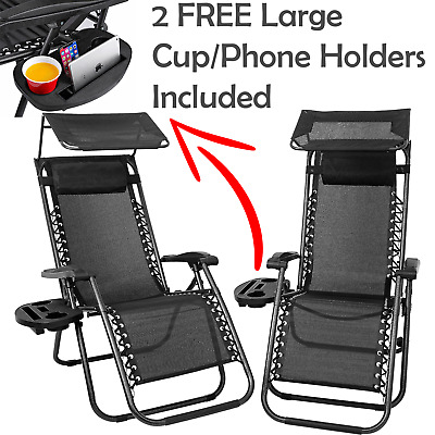 2 Zero Gravity Chairs Sun Loungers Garden Chairs Outdoor Sun Canopy Cupholder