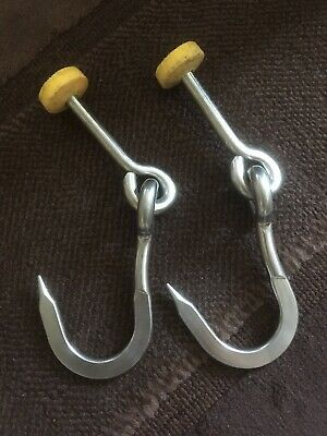 1x Pair Of Stainless Steel Vintage Heavy Duty Butchers Hooks Superb Quality USED