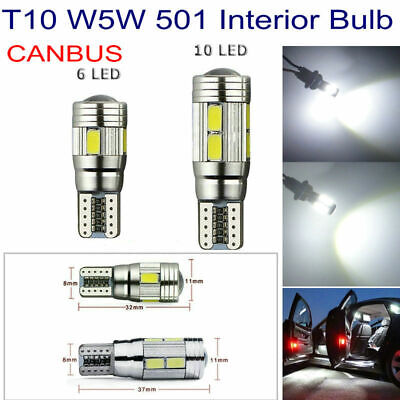 T10 501 W5W Error Free Canbus 6 & 10Smd Led Xenon Hid White Car Side Light Bulbs