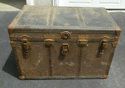 St C.c. Very Old Vintage Industrial Steamer Army K Leather Storage Trunk