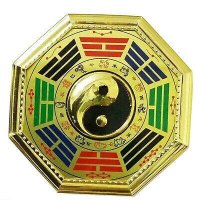 "Chinese Feng Shui Bagua Yinyang Pa Kua Gold 7.5"" Lucky Blessing House Protection"