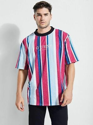 906422ad9a GUESS ORIGINALS SAYER Striped T Shirt Oversized Retro Embroidered ...