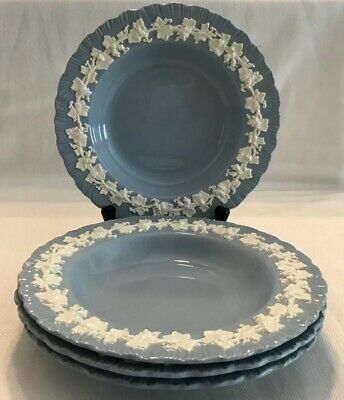 WEDGWOOD QUEENSWARE Shell Edge Cream On Lavender SET OF 4 RIM SOUP BOWLS 8 1/8""