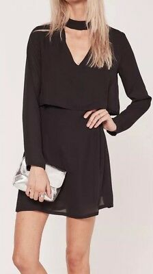 3cb55bb95e7 Missguided Black High Choker Neck Layered Swing Dress Cut Out Front Back  Size 10