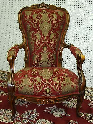 Antique Country French Louis XV Fauteuil Open Arm Chair Upholstered Circa 1890