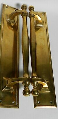"PAIR of Antique Shiny Cast Brass 16"" Main Door Pull Handles circa 1880's VT2962"