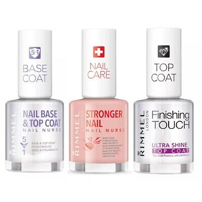 Rimmel Nail Base & Top Coat 5 In 1,, Ultra Shine Top Coat, Nail Stronger- Choose