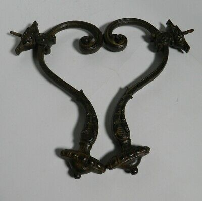 "PAIR of Antique Ornate Iron 10"" Double Wall Hooks from Europe 1860's VT2964"