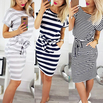 Womens Striped Short Sleeve Bodycon Lace Up Midi Dress Casual Pocket Shirt Dress