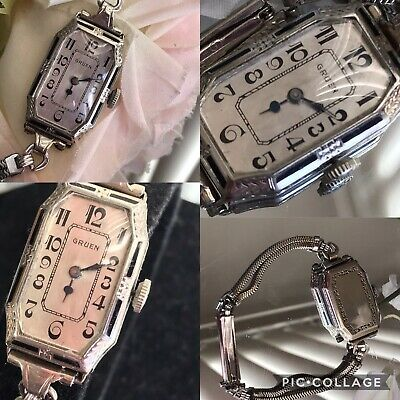1930's Ladies Art Deco Enamel Gruen Guild Watch ~  Runs