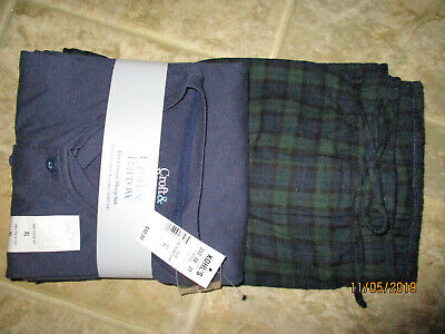 Men/'s Croft /& Barrow Sleep henley/& Flannel Pnts Pajama Lounge Set XL blkgryhtr