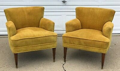 Pair Retro Mid Century Vintage Club Lounge Chairs In The Manner of Paul McCobb