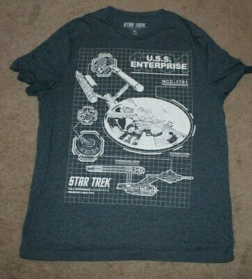 d99b381a Star Trek Mens XL T-Shirt - NCC-1701 Starship Enterprise Blue Print  Schematics