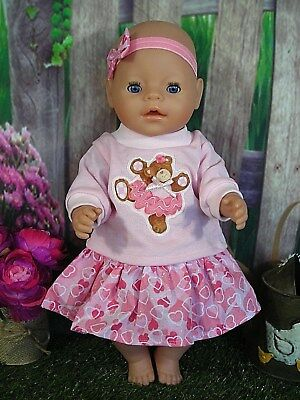 "Dolls clothes for 17"" Baby Born doll~PINK BALLERINA BEAR TOP~HEART SKIRT~H'BOW"