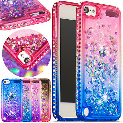For iPod Touch 5th Case 6th Gen Soft Rubber Glitter Liquid Quicksand Armor Cover