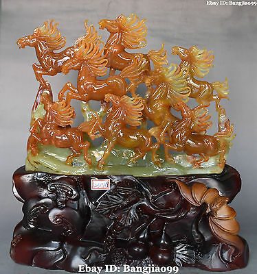 """15"""" Chinese Jade Fengshui Carving Success Running 8 Horse Horses Animal Statue"""