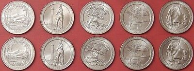 Brilliant Uncirculated 2013 5P & 5D US National Parks 25 Cents From Mint's Rolls