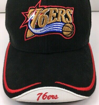 e17ff6fe285e8f NBA Philadelphia 76ers Hat Cap Adjustable Mens One Size Black w Red Gold  NICE