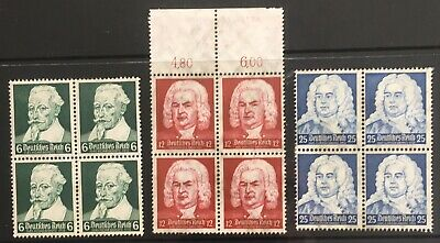 Germany Third Reich 1935 Composers Anniversaries in Blocks of 4 MNH